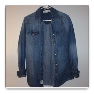 H&M Denim Fitted Shirt L.O.G.G. Sz Small
